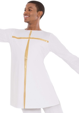 E-13830 Unisex Devout Split Layer Tunic white