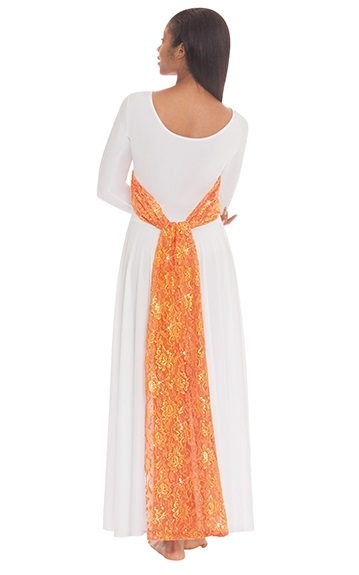 E-65124 Heavenly Lace Sash Worship Dress orange