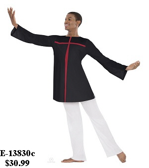 E-13830 Unisex Devout Split Layer Tunic black-red