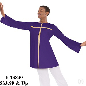 E-13830 Unisex Devout Split Layer Tunic purple