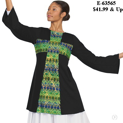 E-63565 Joyful Praise Cross Tunic black