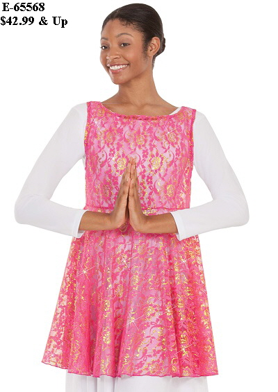 E-65568 Heavenly Lace Peplum Tunic rose