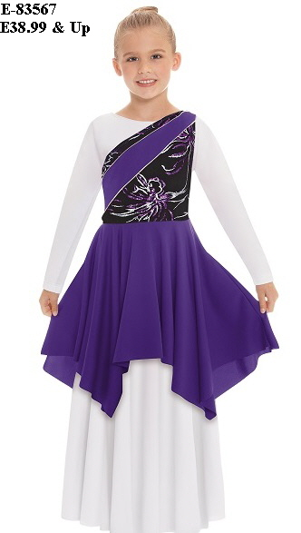 E-83567c Child Opulent Orchid Asymetrical Tunic