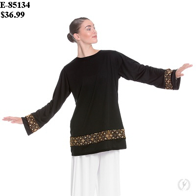 E-85134 Divine Royalty Unisex Praise Tunic black-gold