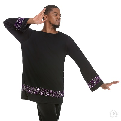 E-85134 Divine Royalty Unisex Praise Tunic black-purple