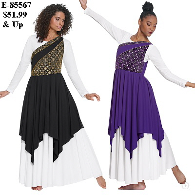 E-85567 Divine Royalty Asymentrical Tunic